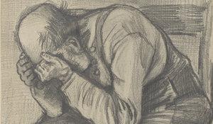 Vincent van Gogh, Studie 'Worn out', rond 24 november 1882. Timmermans potlood op aquarel papier, 48.8 x approx. 30 cm. (Privécollectie).