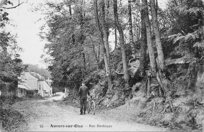 Postkaart van Auvers waarop de boomwortels te zien zijn die Vincent van Gogh als inspiratie gebruikte voor zijn beroemde, laatste schilderij.