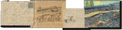 Campagnebeeld voor de tentoonstelling Je liefhebbende Vincent. Van Goghs mooiste brieven met een beschreven envelop, twee briefschetsen en Veld met ploeger uit privécollectie.