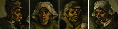 Details van vier hoofden uit De aardappeleters